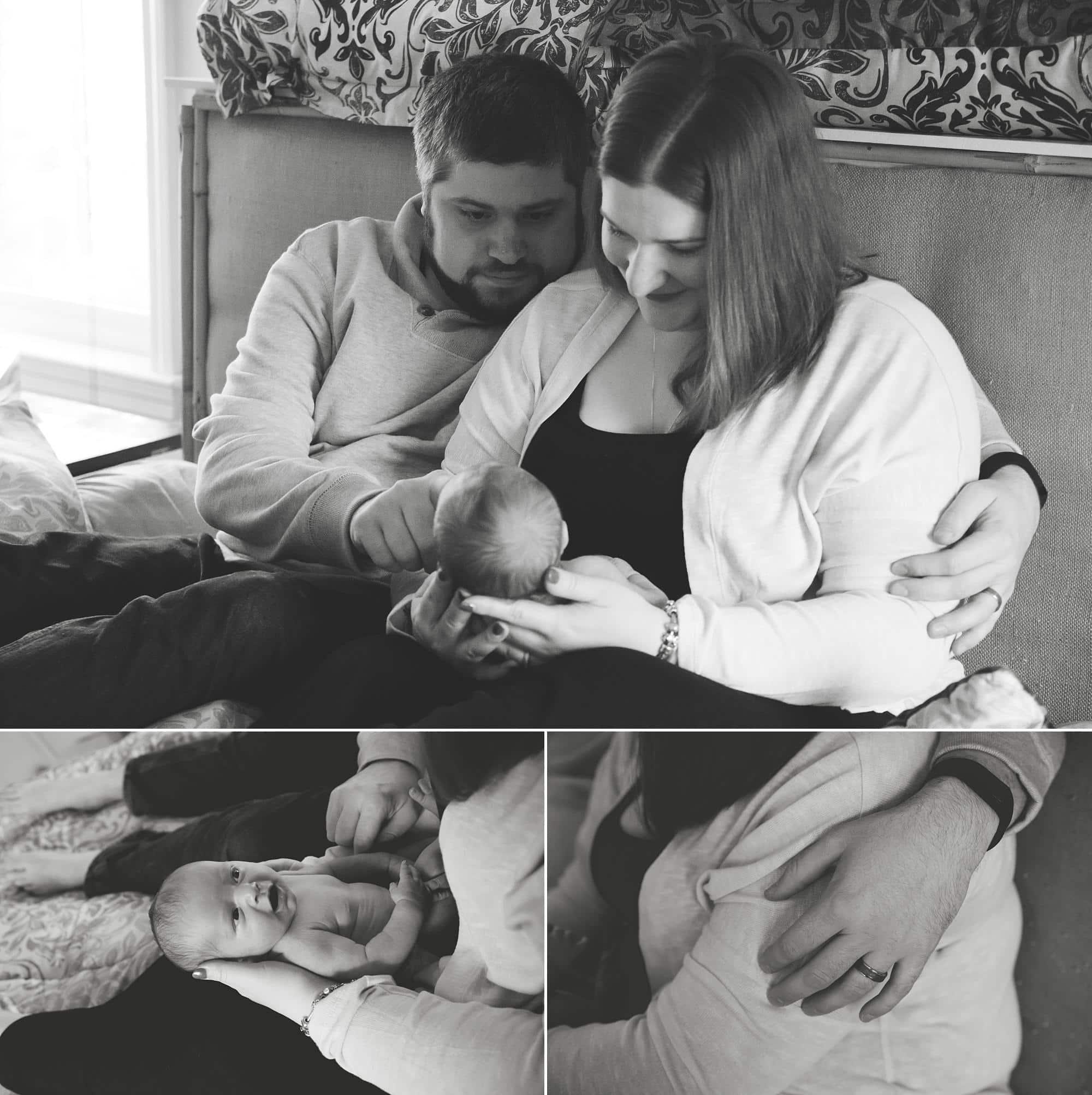 mom-dad-cuddling-bed-looking-newborn-girl-lifestyle