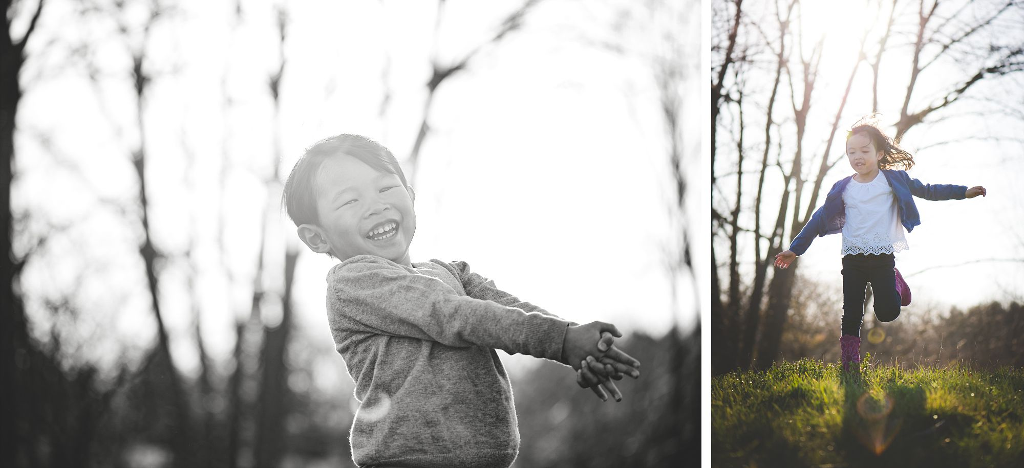 Young boy and girl running outside and laughing