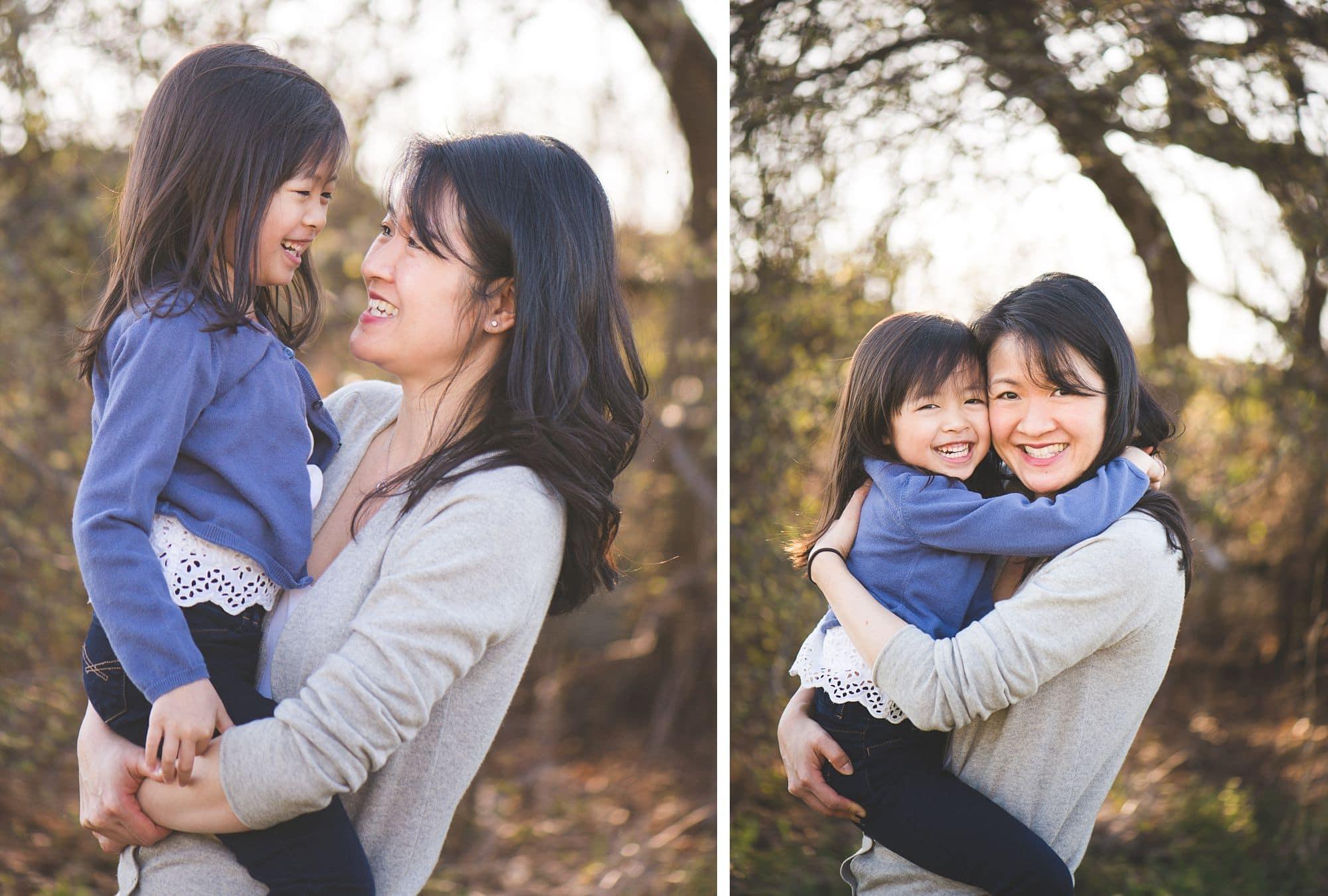 Closeups of mom hugging daughter outside