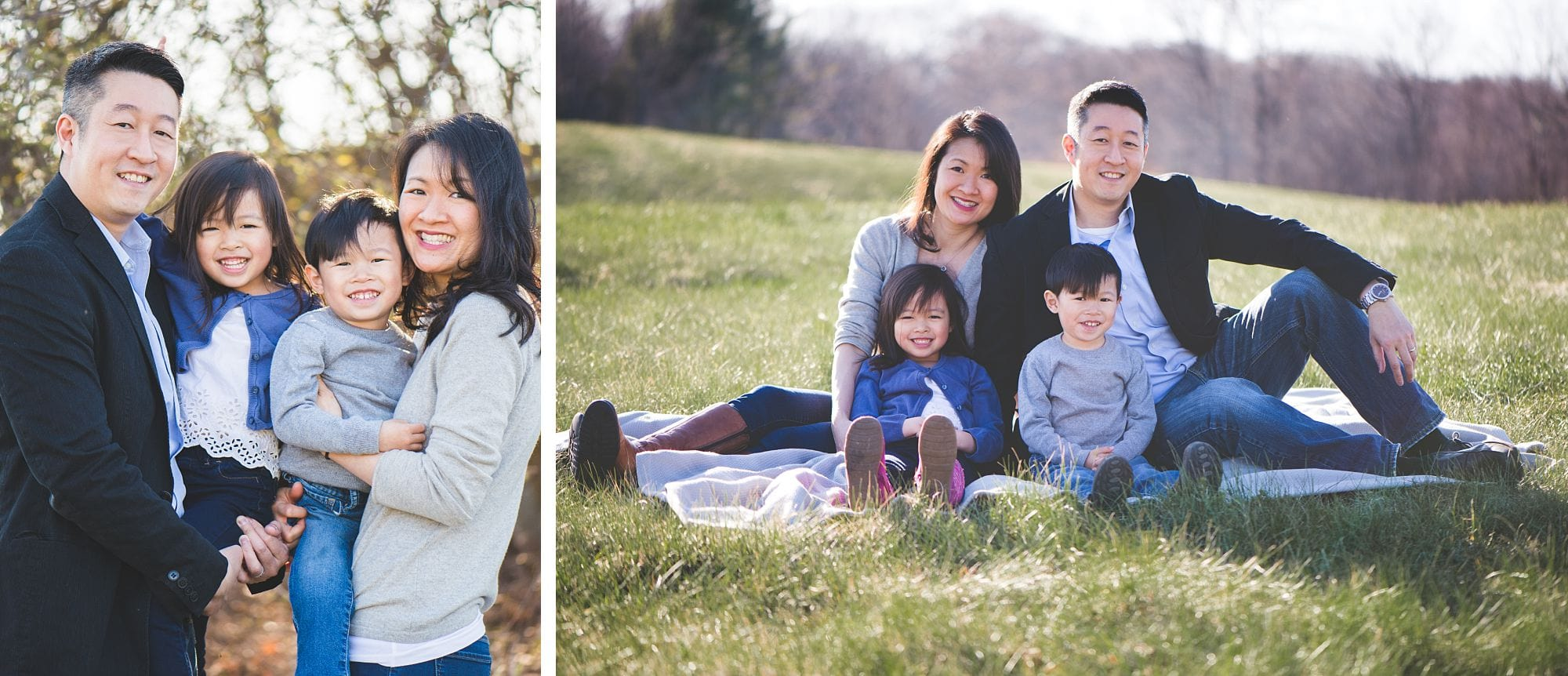 Family photo in a field in Massachusetts with 2 kids
