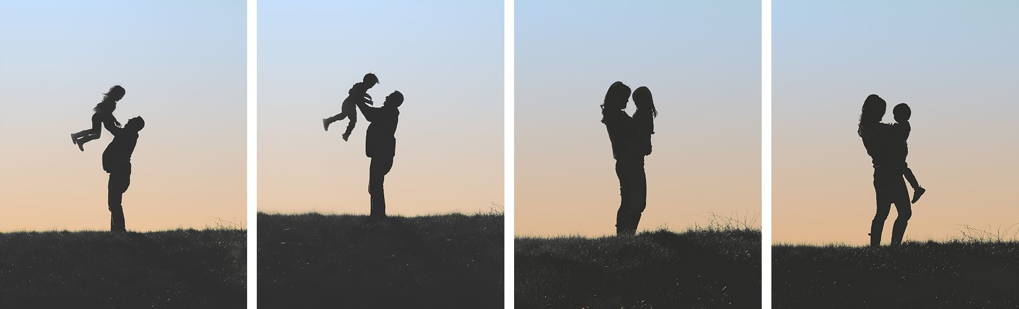 Silhouette photos of mom and dad holding son and daughter at sunset on a hill in Massachusetts