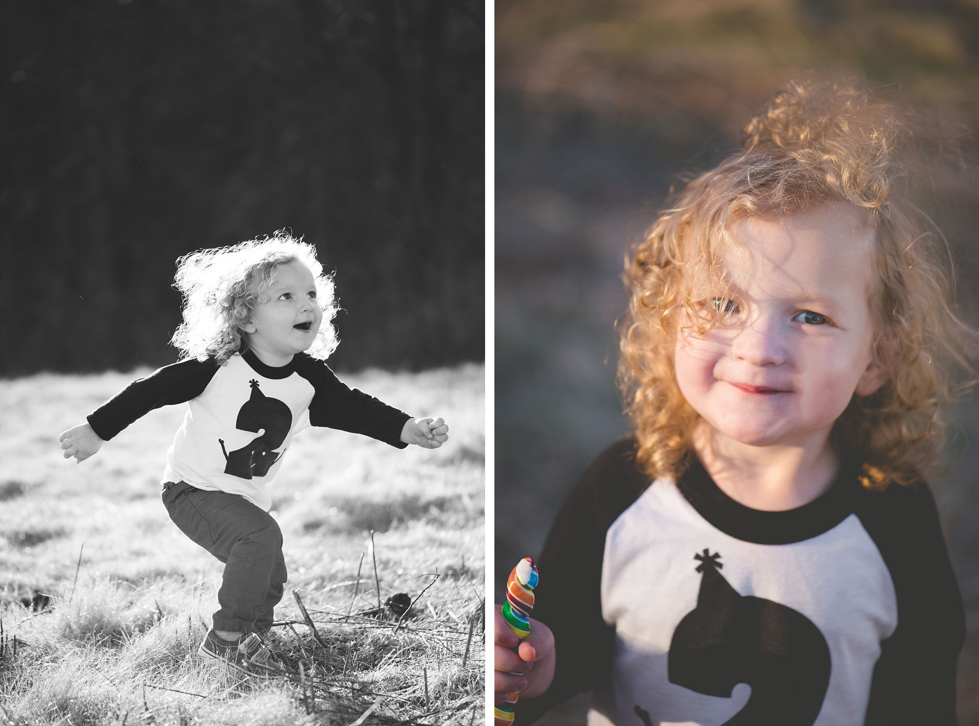 Boy with curly hair plays outside in the sunlight on his second birthday