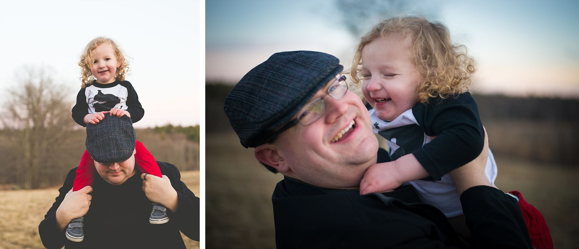 Father holds his son on his shoulders as they laugh together in an outdoor portrait