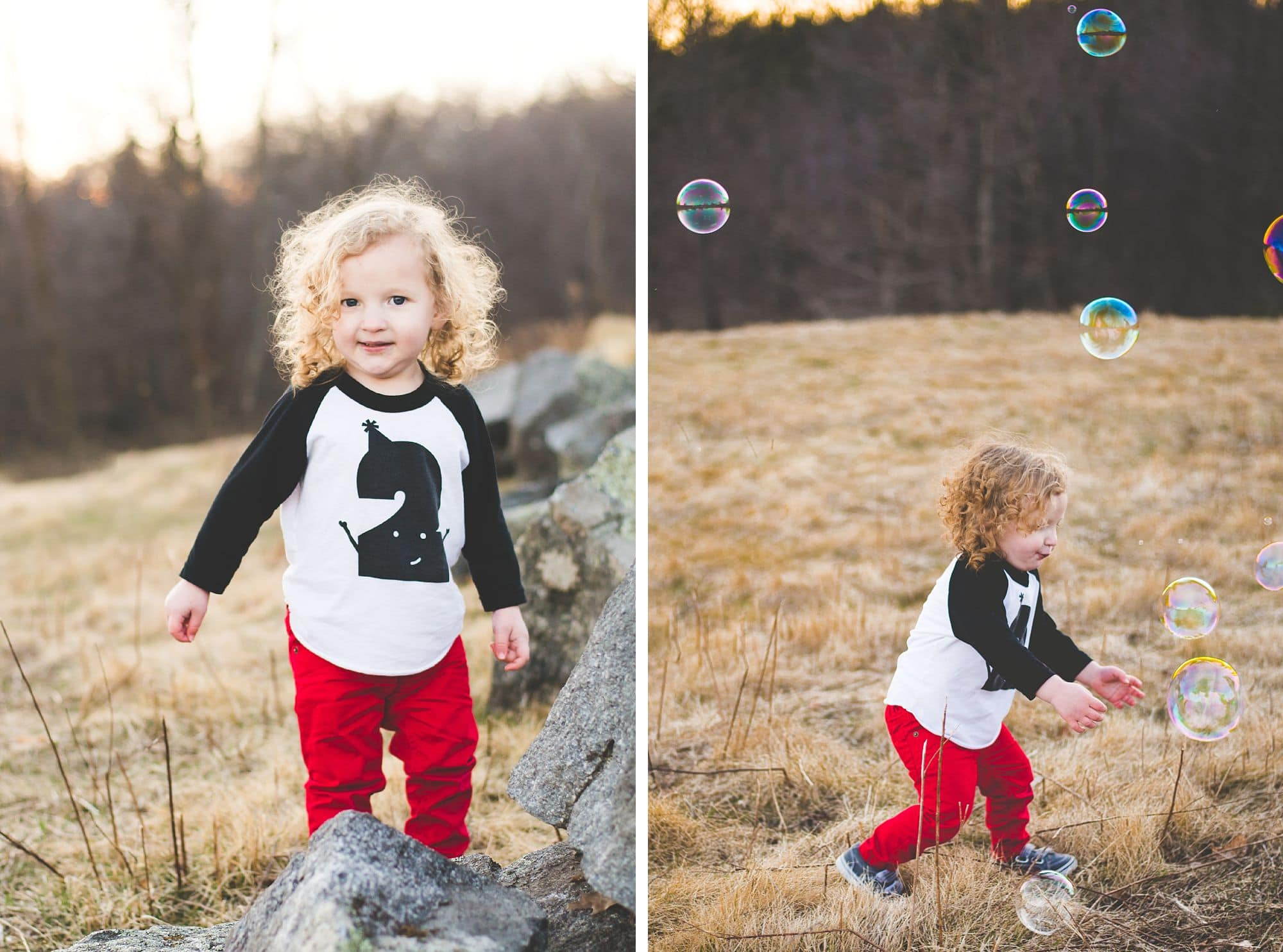Cute little boy in red pants chases bubbles across an open field, laughing and smiling
