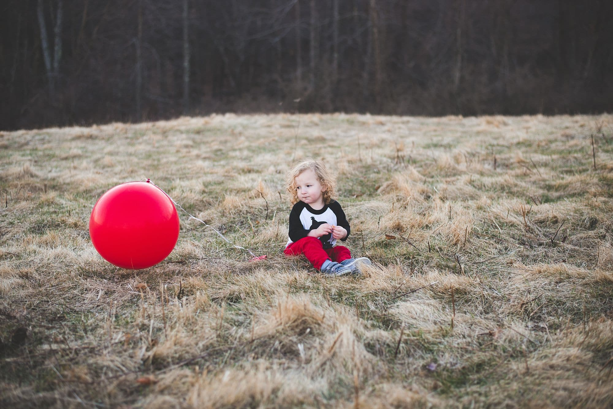 Toddler sits near a large red ball in an open field