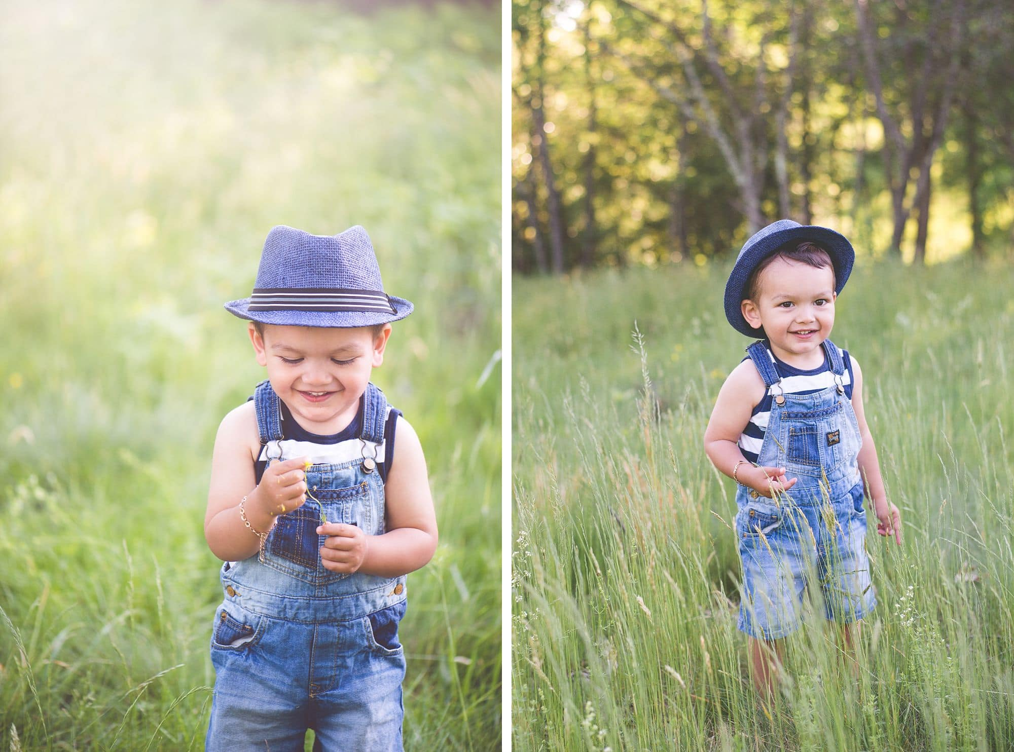 Toddler boy in blue overalls and fedora plays in a grassy field