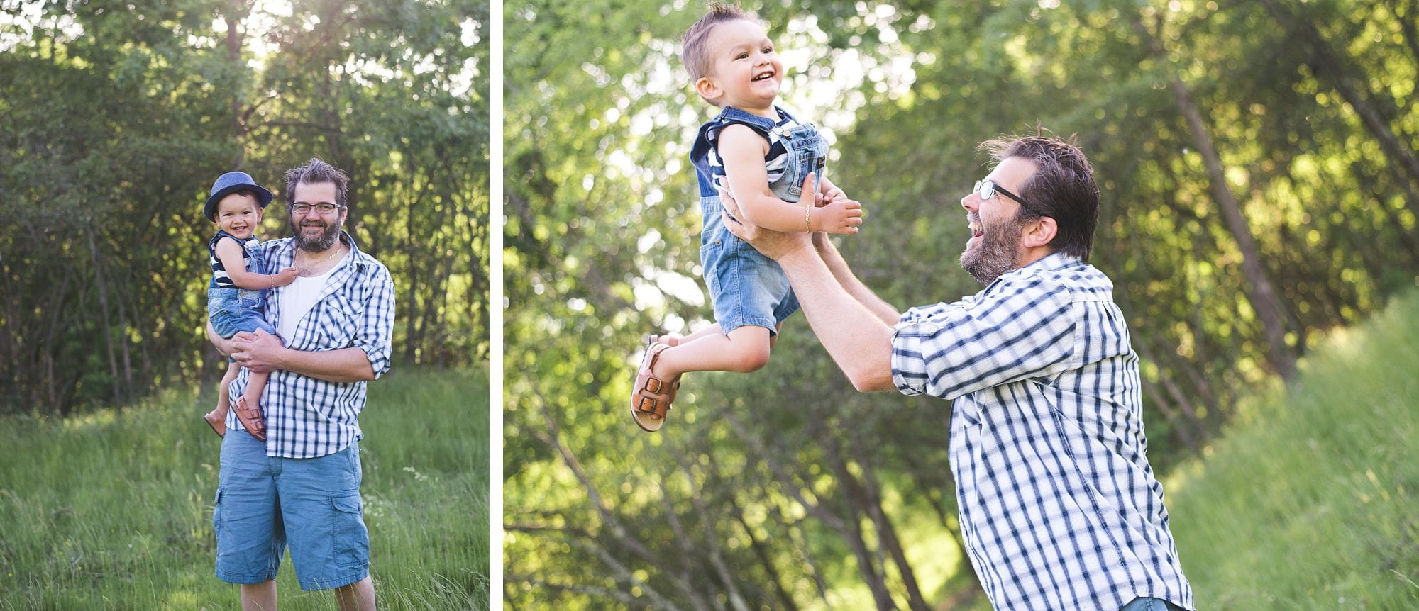 Sweet daddy and me portrait in an outdoor setting
