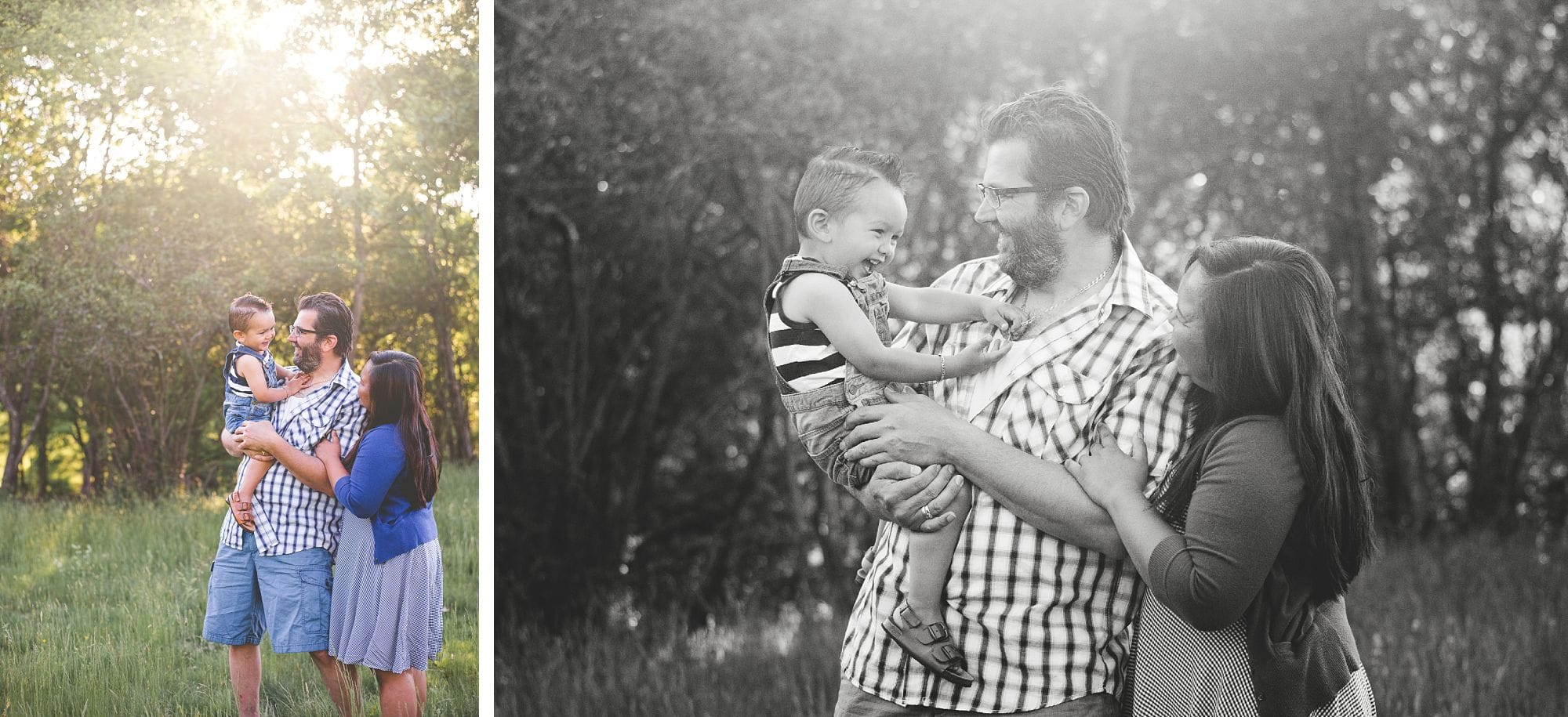 Beautiful black and white and color family portraits with sunlight streaming through the trees