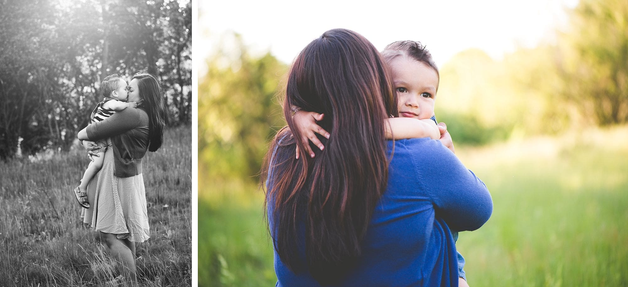 Quiet moment with mother and son during outdoor portrait session