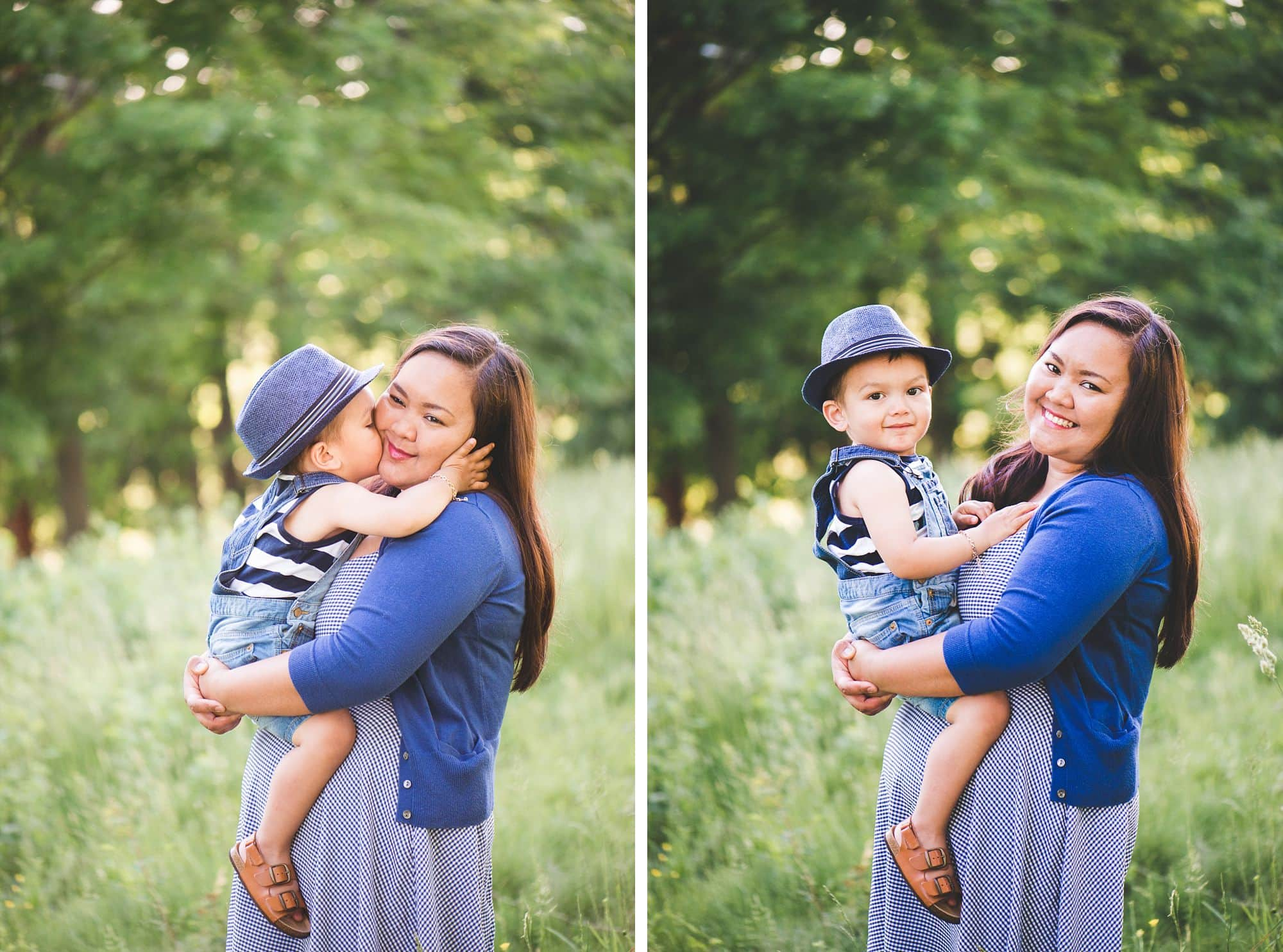 Blue themed mommy and me session with toddler in adorable hat and overalls
