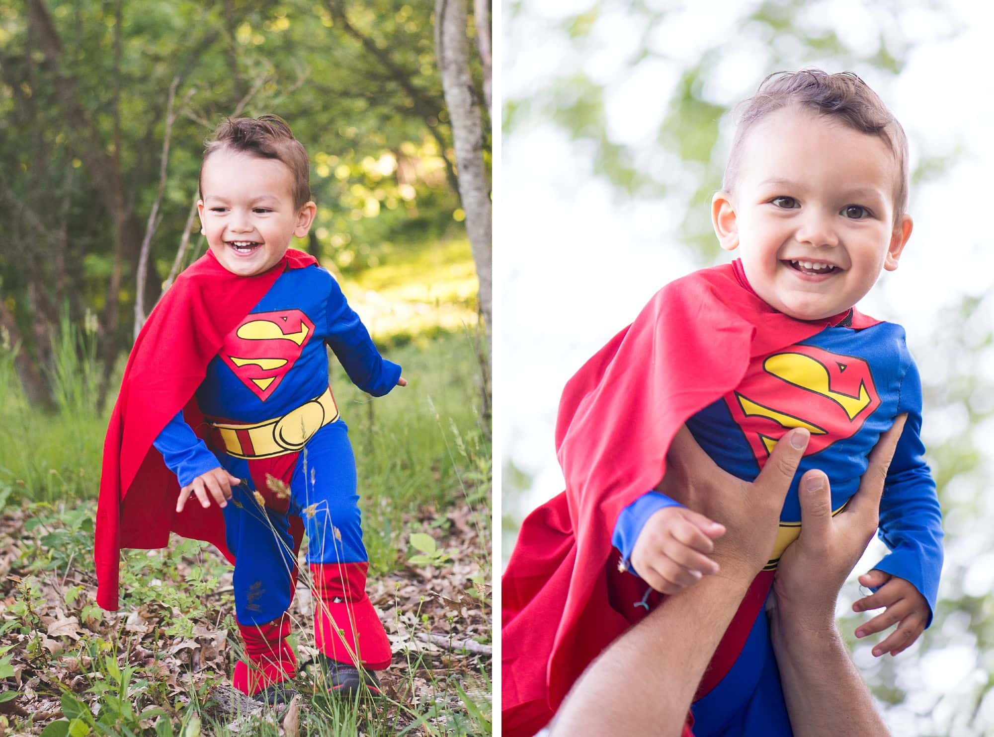Toddler boy in superman costume, playing in the grass and flying in daddy's hands