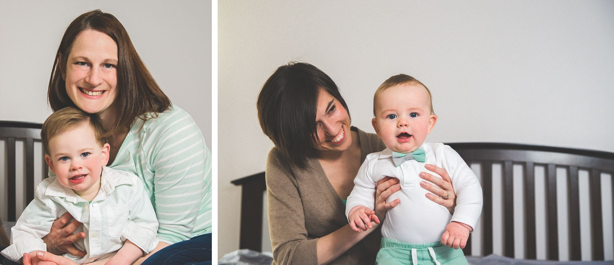 Collage of lesbian couple with their toddler and baby smiling naturally, wearing mint and white