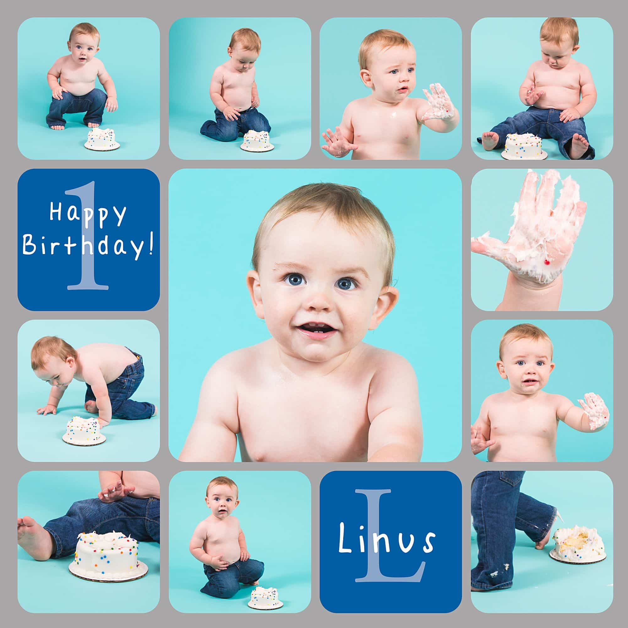 Baby one year cake smash collage with a teal aqua background