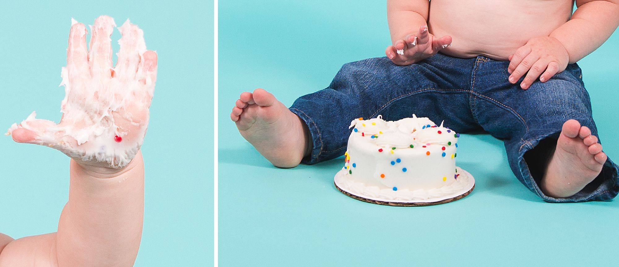 Detail collage of baby's cake smash session showing blue jeans and sprinkles frosting