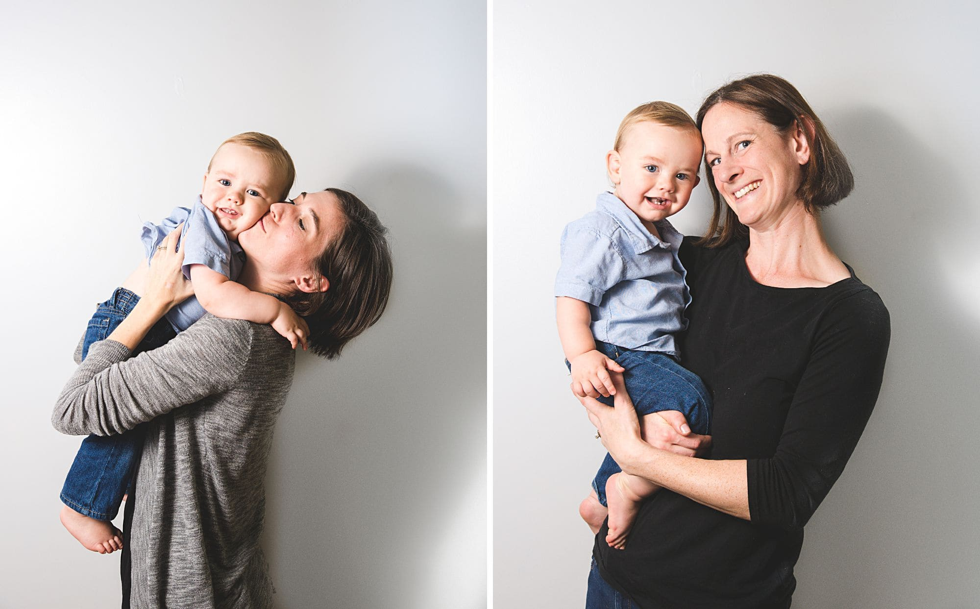 Collage with lesbian couple and their toddler and baby boys in a studio portrait session