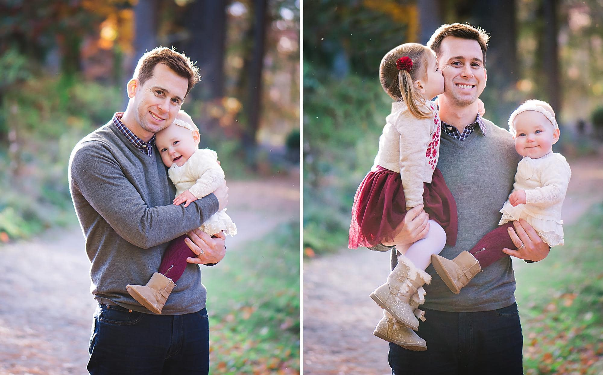 Dad hugging young daughters on a path with Fall colors