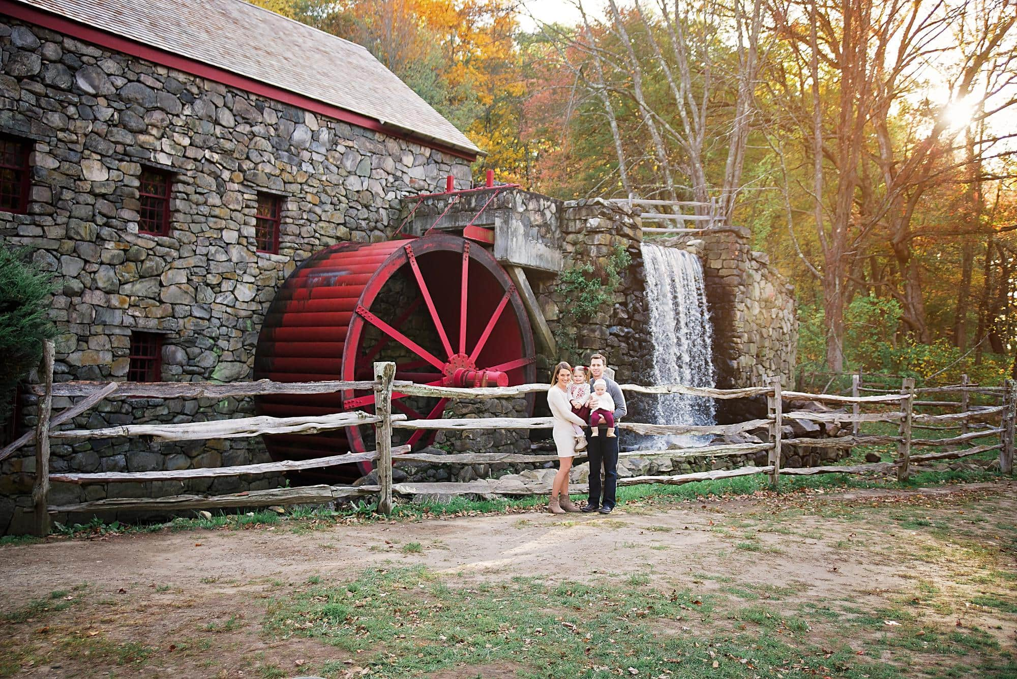 Family of 4 Fall photo at Wayside Inn Grist Mill