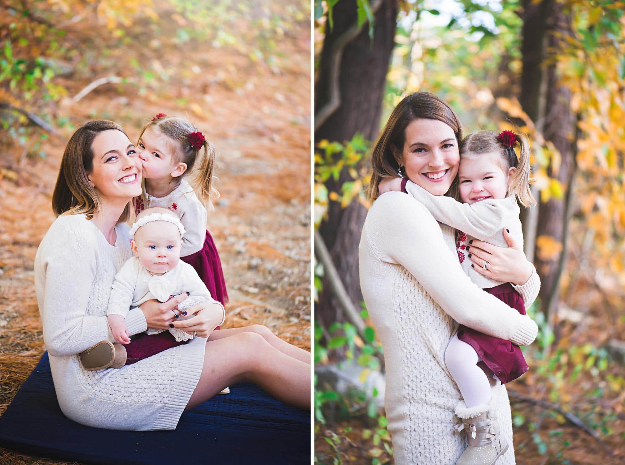 Mom hugging daughters outside in Fall colors