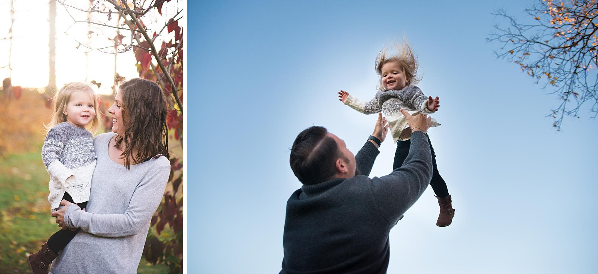 Dad throwing young daughter in the air during family photos
