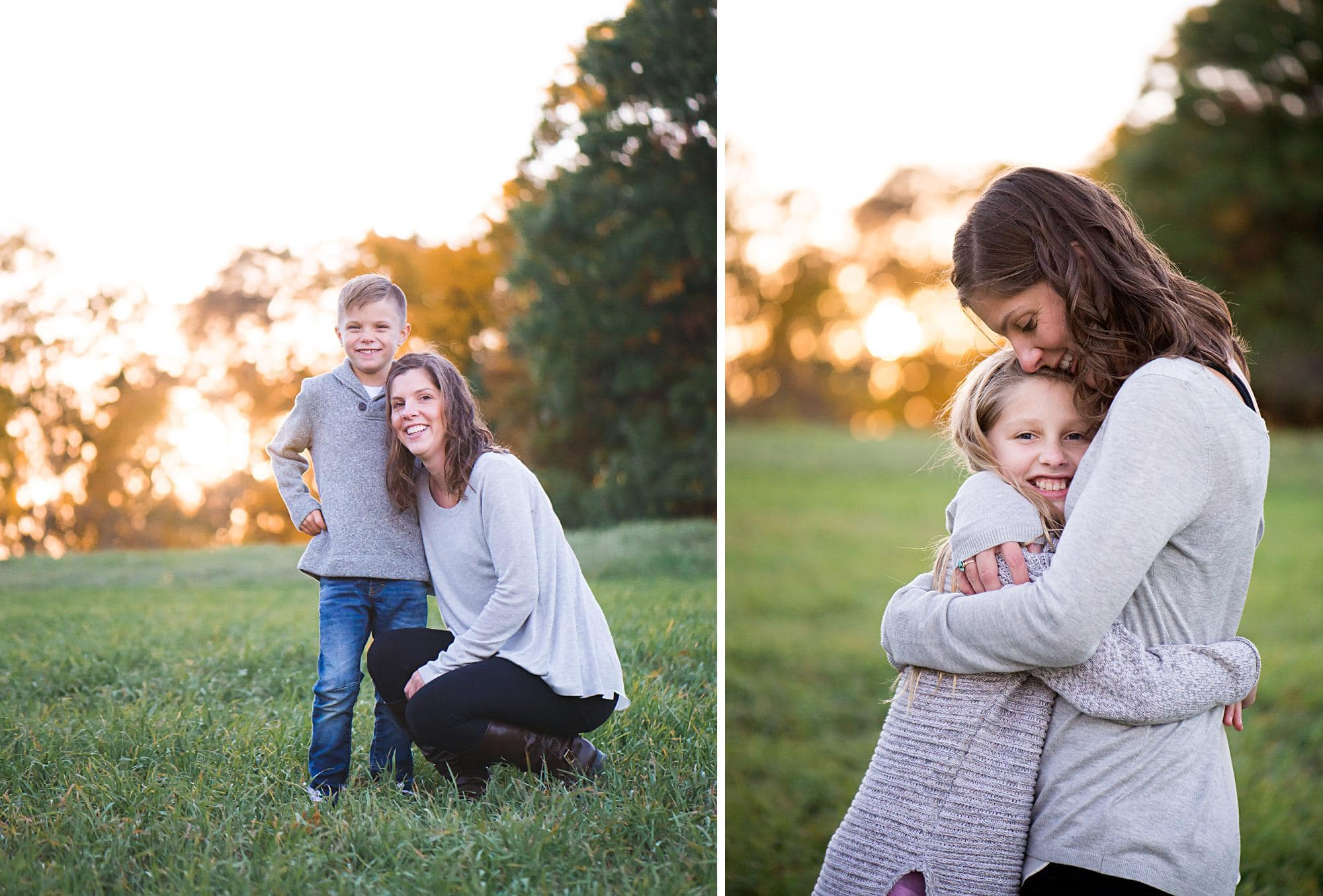 Mom hugging son and daughter outdoor at sunset