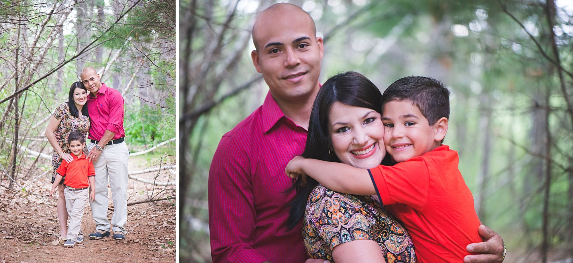 Family portrait outdoors wearing pink and orange in a natural forest setting
