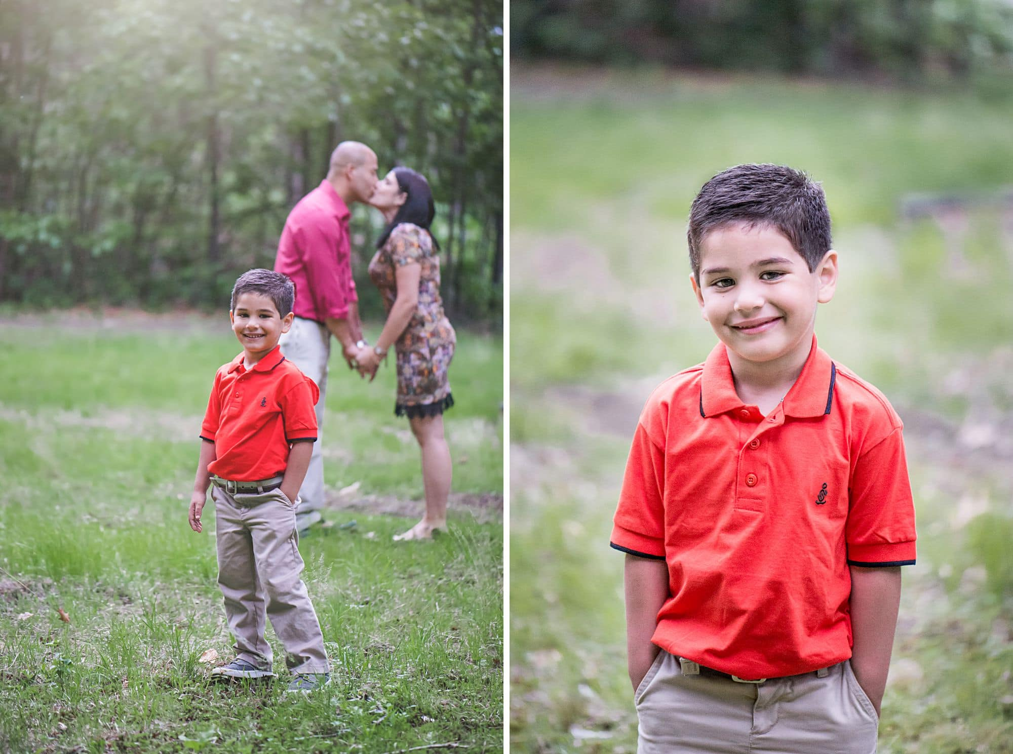Outdoor family photos, boy in orange shirt with parents kissing in the background