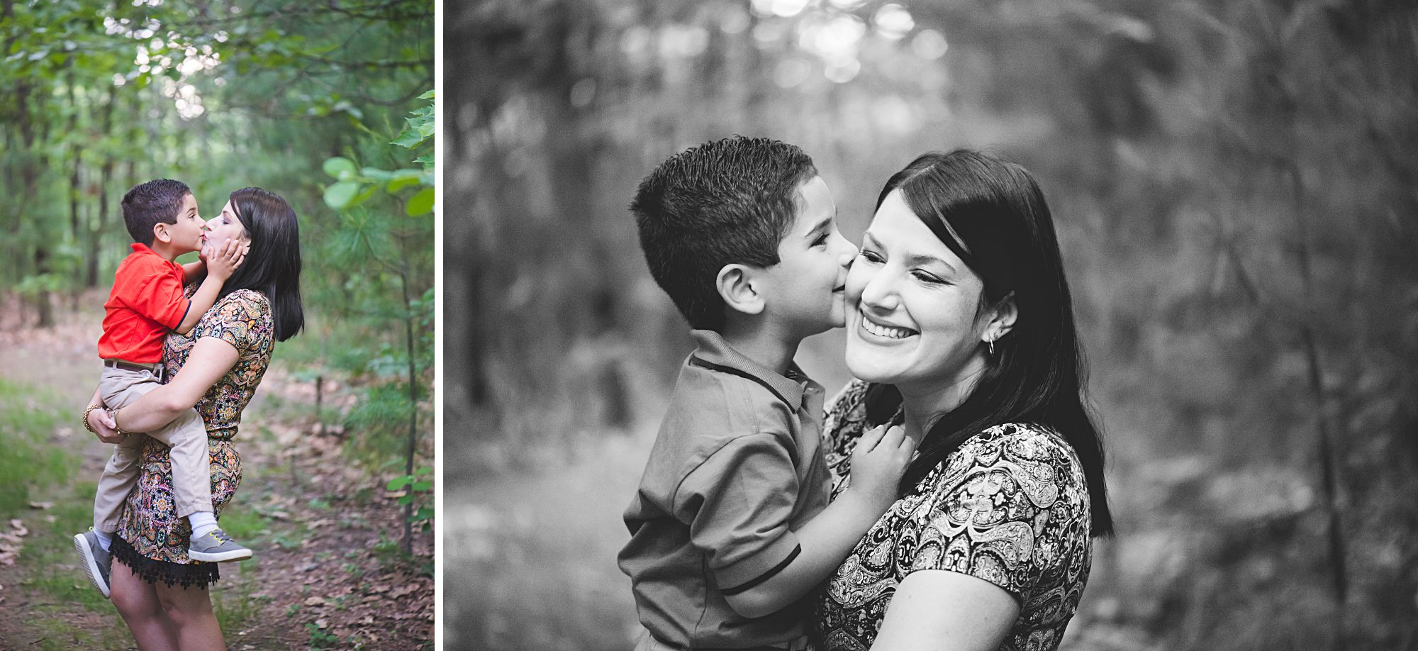 Mommy and me collage with boy and mother on location in Worcester