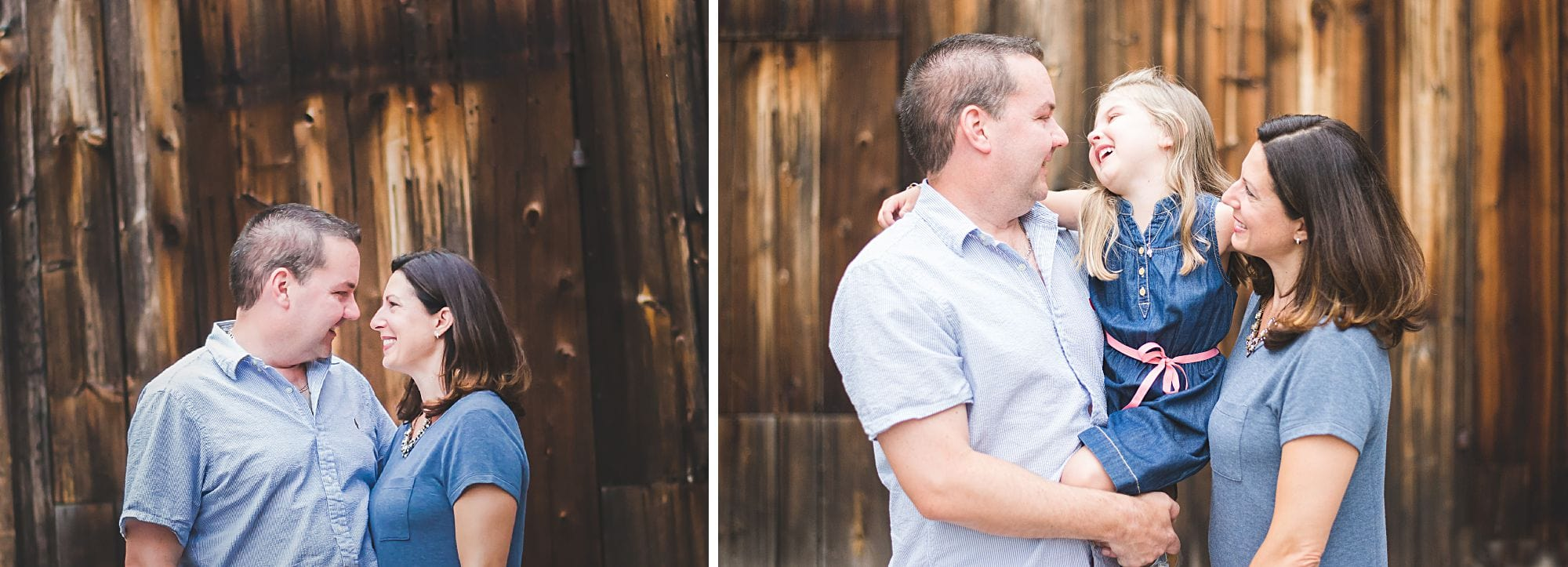 Collage of family portrait and couple portrait against wood background, in casual embrace poses