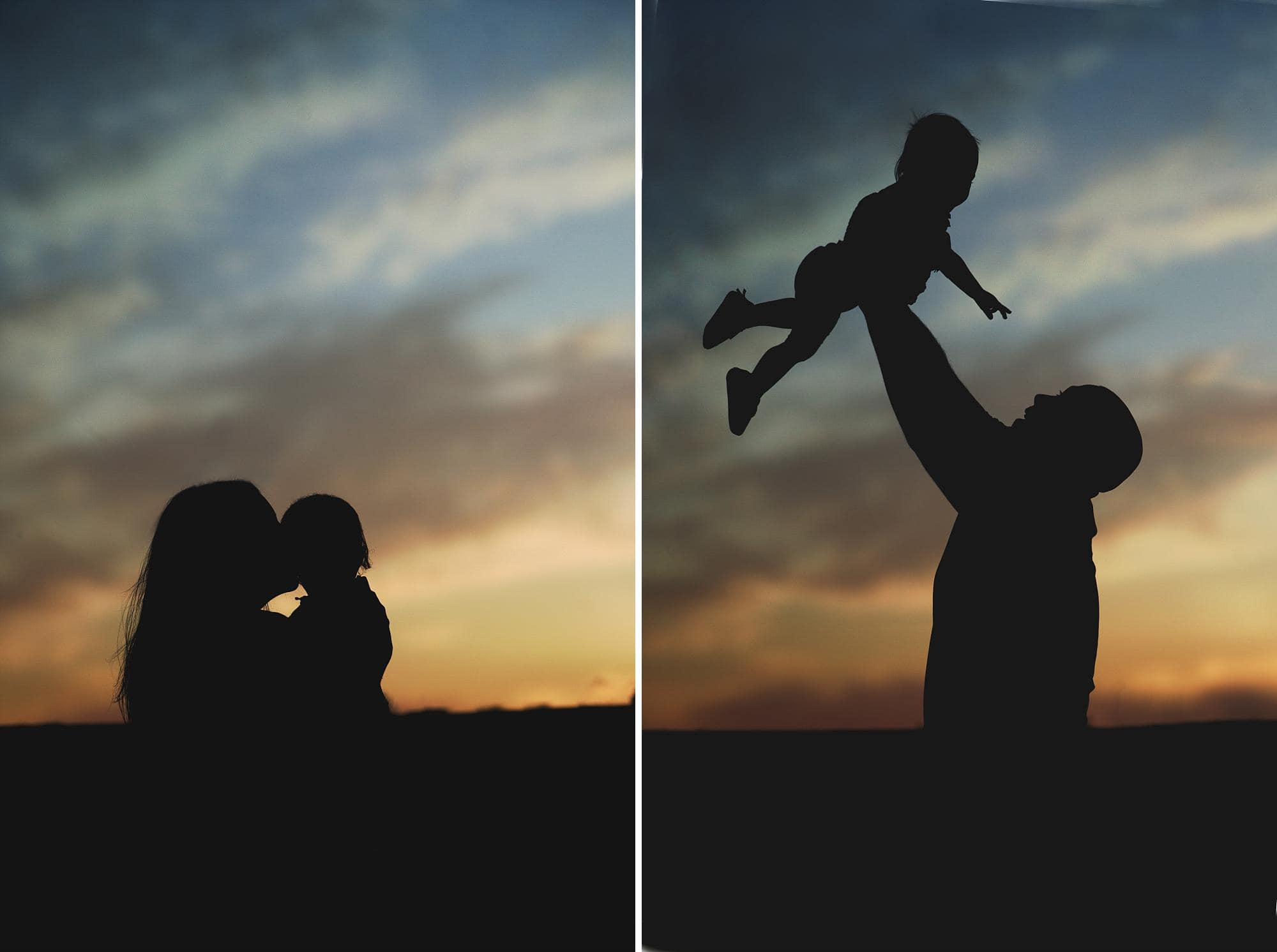 Mom & dad silhouette with baby girl