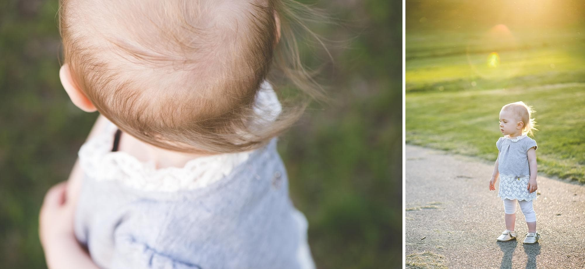 Close up of toddler girl's wispy hair