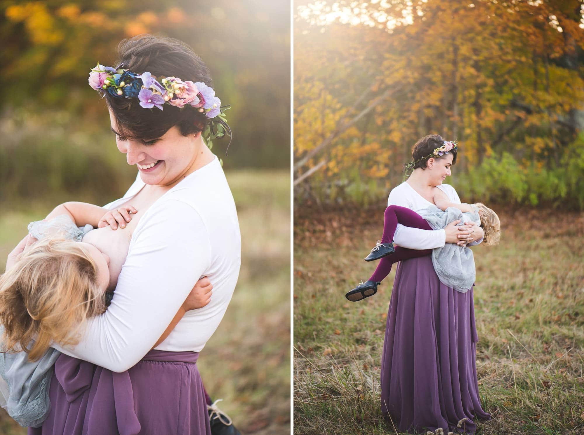 Mom holding toddler girl breastfeeding outside