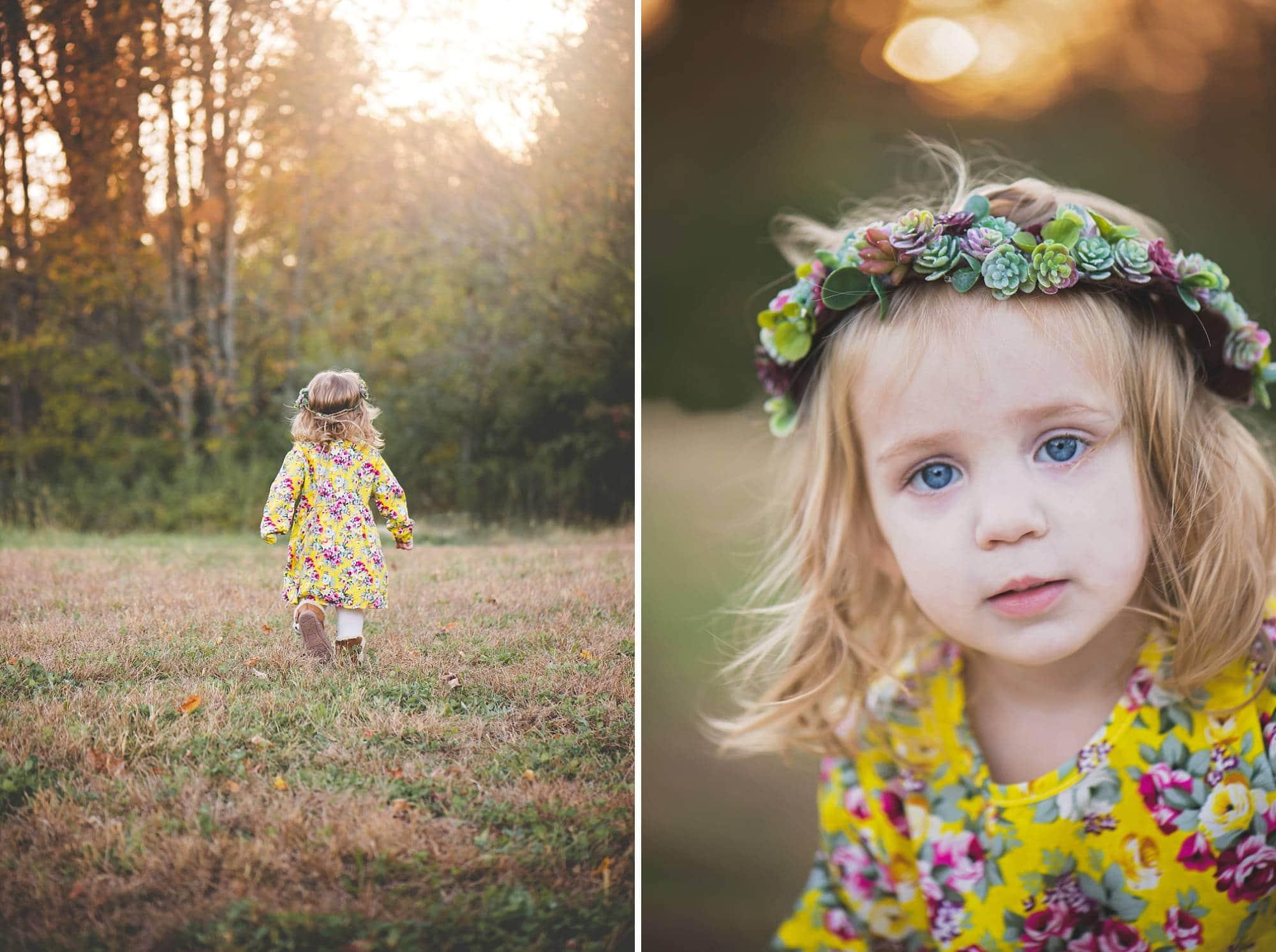 Close up of toddler girl milestone photos wearing flower crown