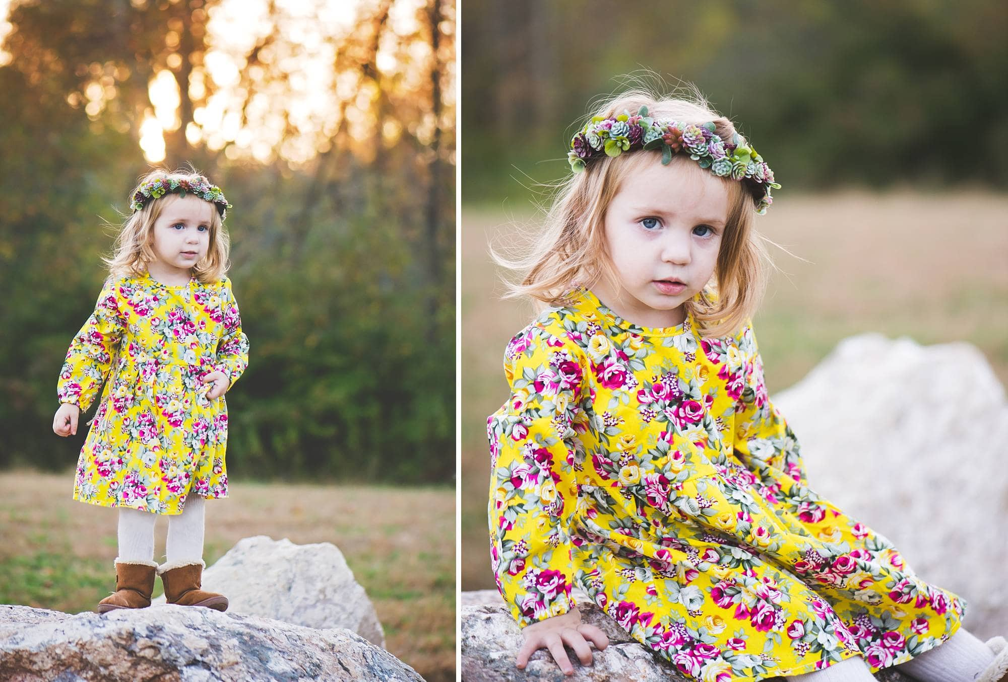 Toddler girl on a rock with a yellow dress and flower crown