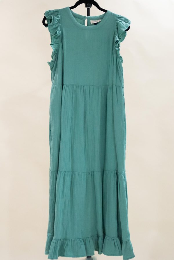 Blue/Green Ruffle Tank Dress M-L