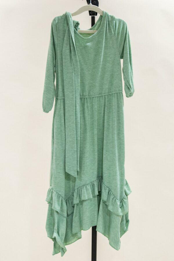 Green Handkerchief Hem Dress Girls S-M