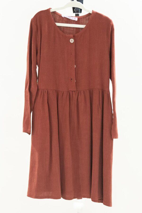 Rust Long Sleeve Dress Girls S-M