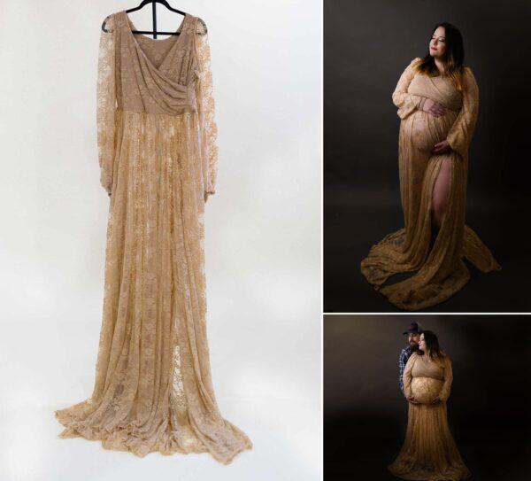 Tan Lace Gown M-XL