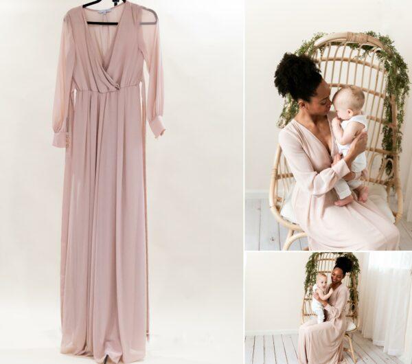 Tan/Pink Chiffon Dress XS_S